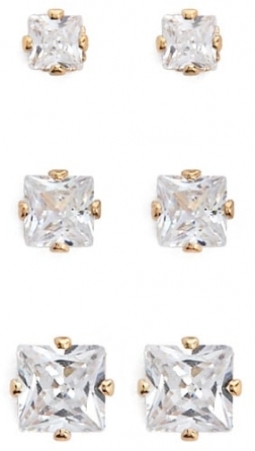 Forever21 Forever 21 CZ Stud Earring Set , Gold/clear Jewellery