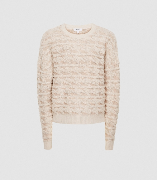 Reiss Otto - Textured Patterned Pink, Womens, Size S Jumper