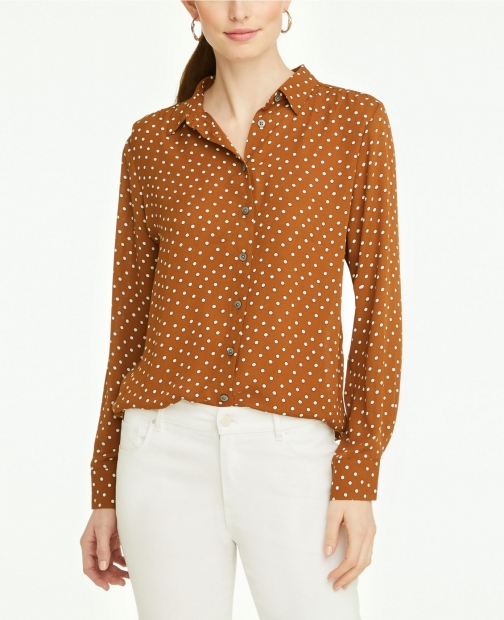 Ann Taylor Dotted Soft Button Down Shirt