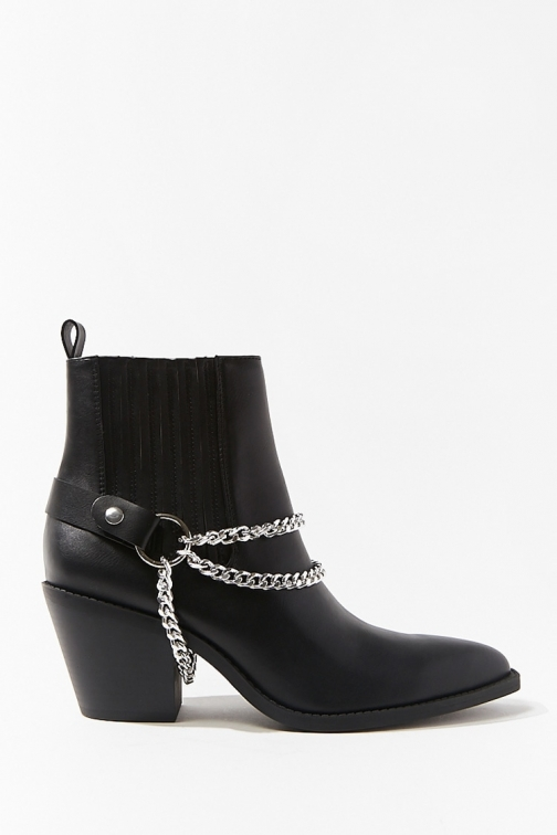 Forever21 Forever 21 Chain-Accent Faux Leather , Black Boot
