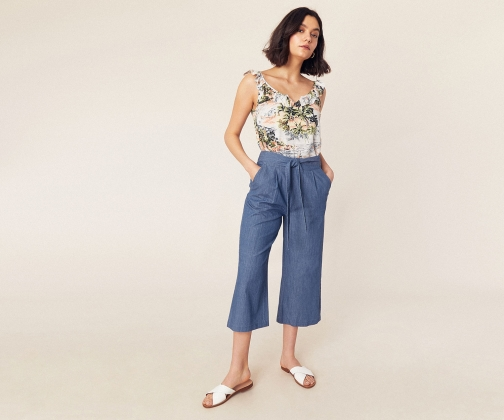 Oasis Chambray Wide Leg Trouser