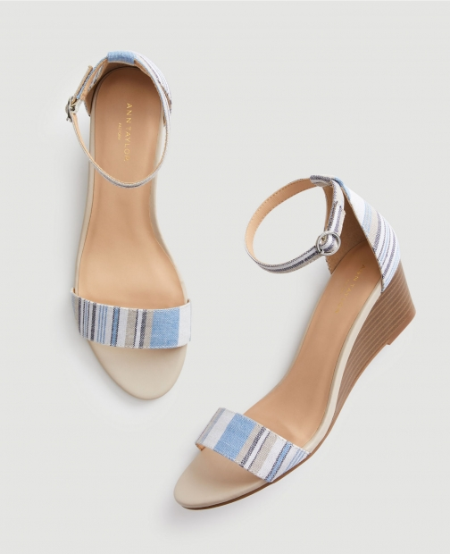 Ann Taylor Factory Striped Ankle Strap Wedge Sandal