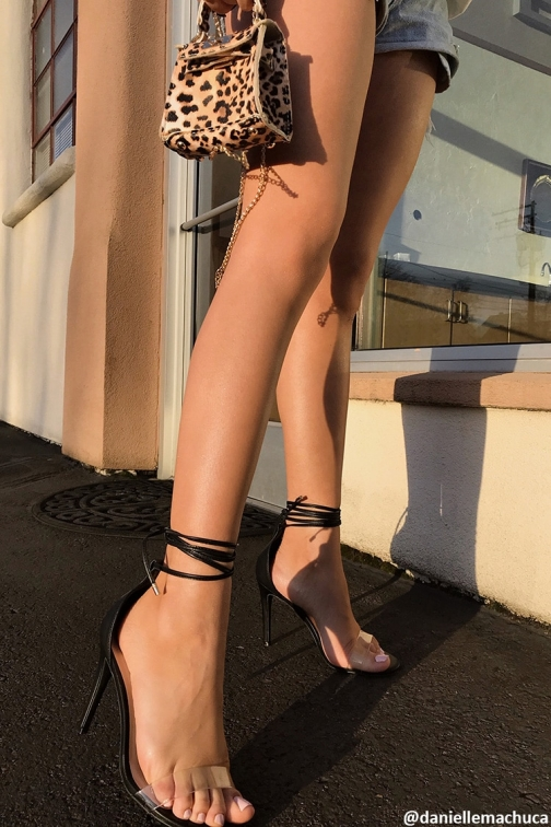Forever21 Forever 21 Lace-Up Stiletto Heels , Black Shoes