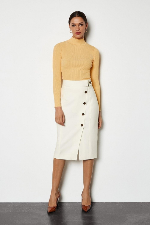 Karen Millen Sleek And Sharp Ivory, Ivory Skirt