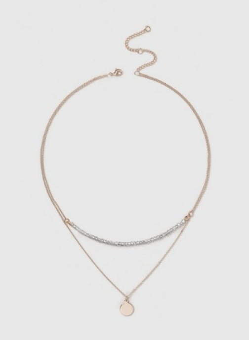 Dorothy Perkins Womens Rose Gold Look Finer 2 Row - Silver, Silver Necklace