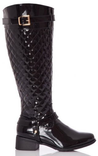 Quiz Black Quilted Knee High Boots