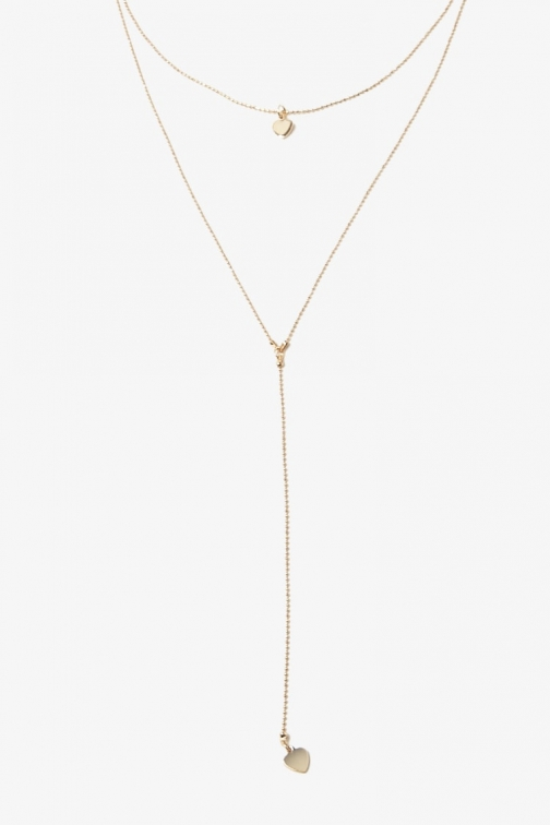Forever21 Forever 21 Heart Charm Drop Necklace Set , Gold Jewellery