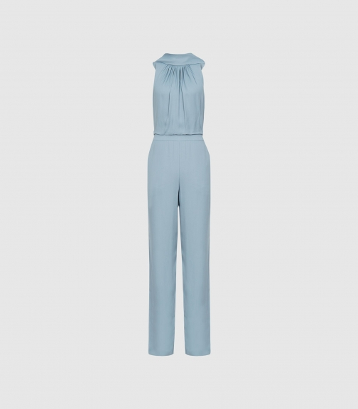 Reiss Adele - Bow Detail Pale Blue, Womens, Size 8 Jumpsuit