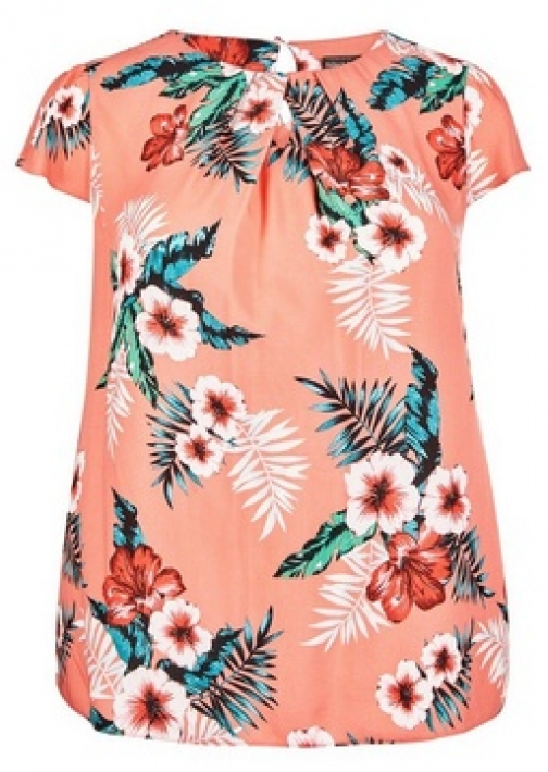 Billie & Blossom Curve Coral Tropical Print Shell Top
