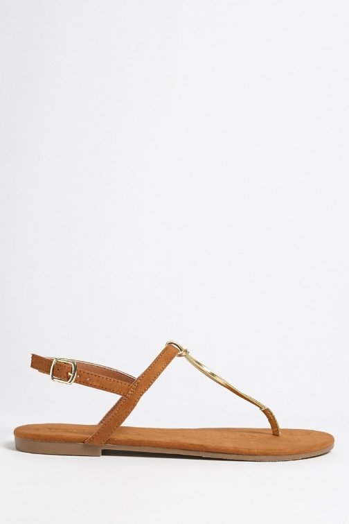 Forever21 Forever 21 Metallic Faux Leather Thong , Brown Sandals