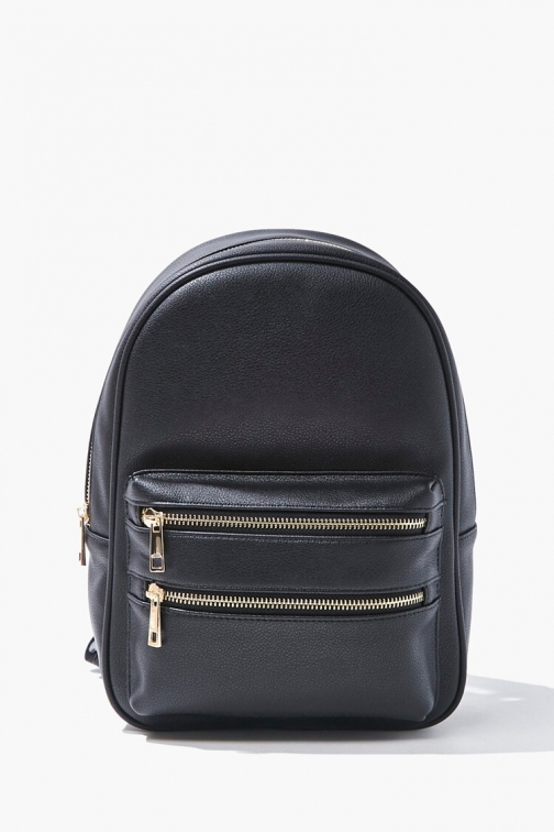 Forever21 Faux Leather At Forever 21 , Black Backpack