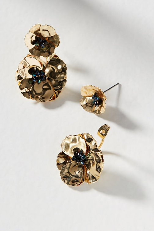 Anthropologie May Flowers Front-Back - Gold Earring