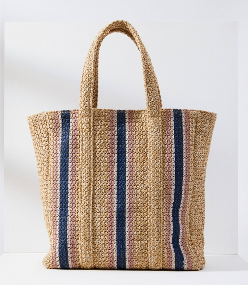 Loft Striped Woven Bag Tote