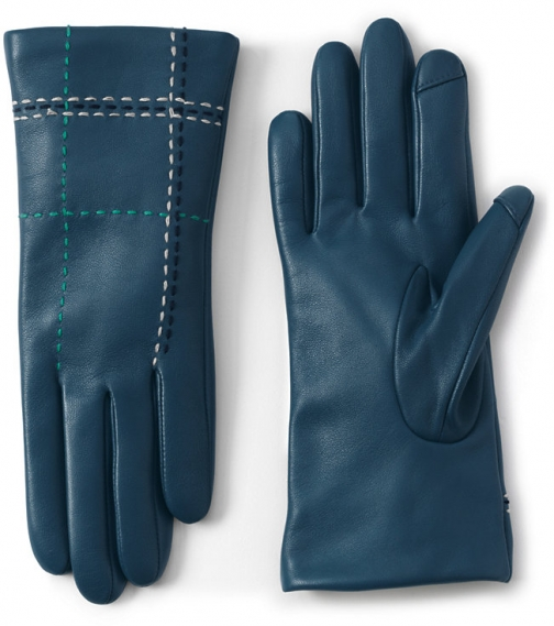 Lands' End Women's Cashmere Lined Leather Stitched - Lands' End - Blue - S Glove