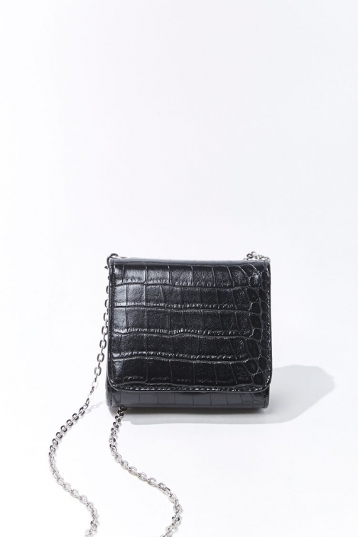 Forever21 Mini Faux Croc Leather At Forever 21 , Black Crossbody Bag
