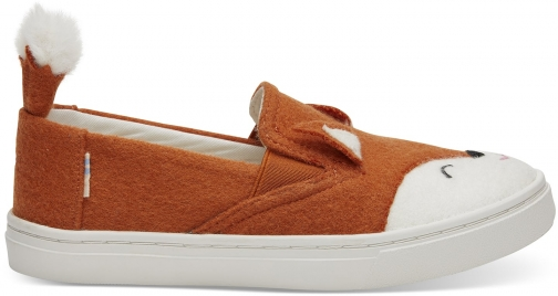 Toms Orange Felt Fox Face Youth Luca Slip-Ons Shoes