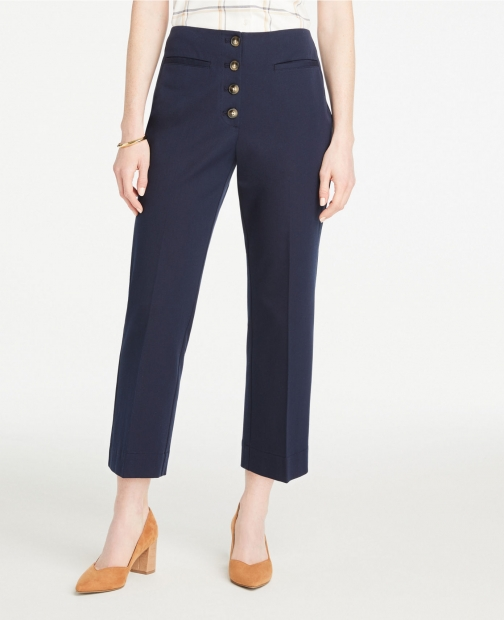 Ann Taylor Button Front Slim Wide Leg Pants Trouser