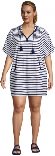 Lands' End Women's Plus Size Terry V-neck Short Sleeve Hooded Swim Cover-up Dress With Pocket - Lands' End - White - 1X2X Swimwear