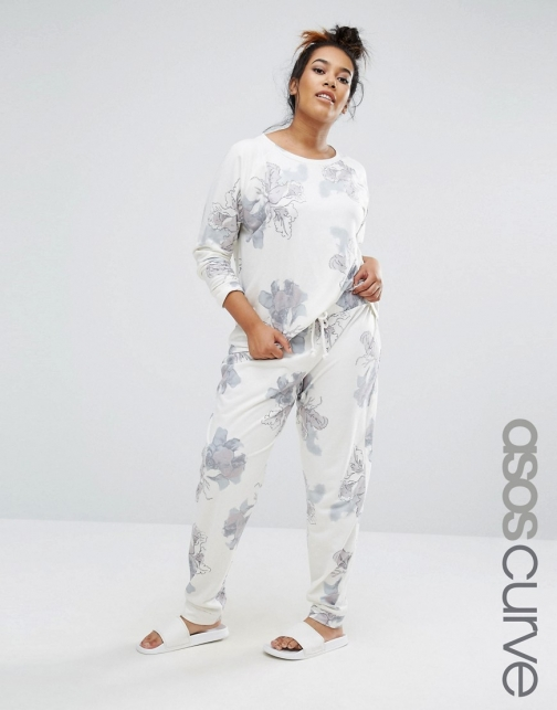 Asos Curve CURVE LOUNGE Joggers Watercolour Print Athletic Pant