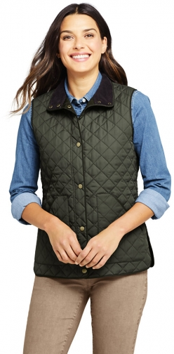 Lands' End Women's Insulated Quilted Barn Vest - Lands' End - Green - XS Top