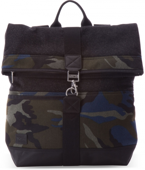 Toms Green Camo Herringbone Discover Backpack