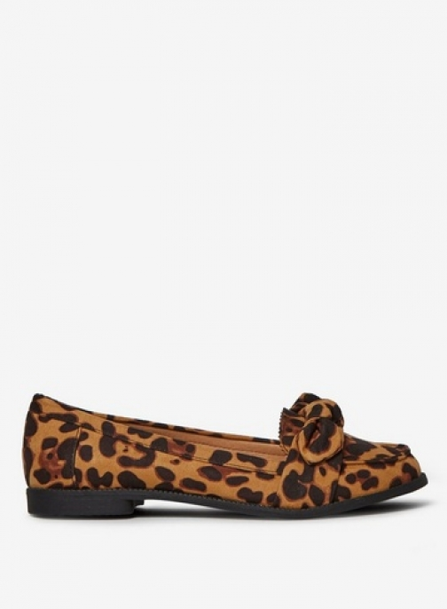 Dorothy Perkins Womens Leopard Microfibre 'Leah' Bow - Animal, Animal Loafer