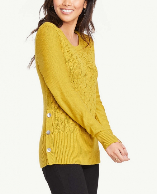 Ann Taylor Side Button Cable Sweater Sweatshirt