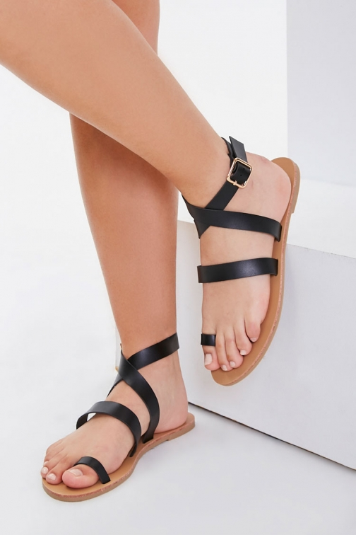 Forever21 Forever 21 Wraparound Toe-Loop , Black Sandals