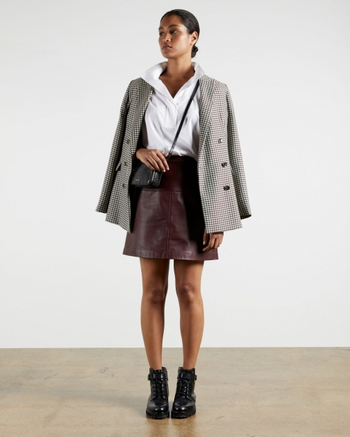 Ted Baker A-line Leather Mini Skirt