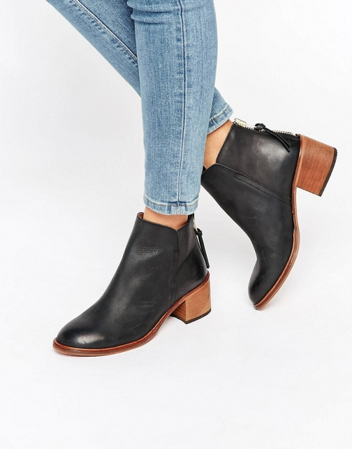 Office Amends Back Zip Leather Heeled Ankle Boot