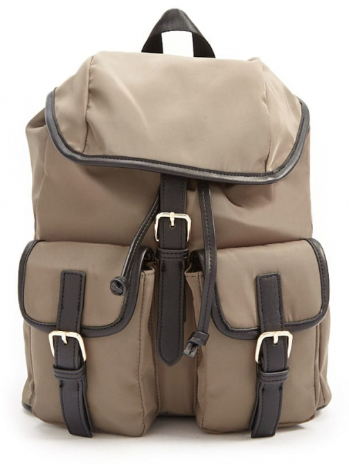 Forever21 Forever 21 Buckle-Strap Drawstring Olive Backpack