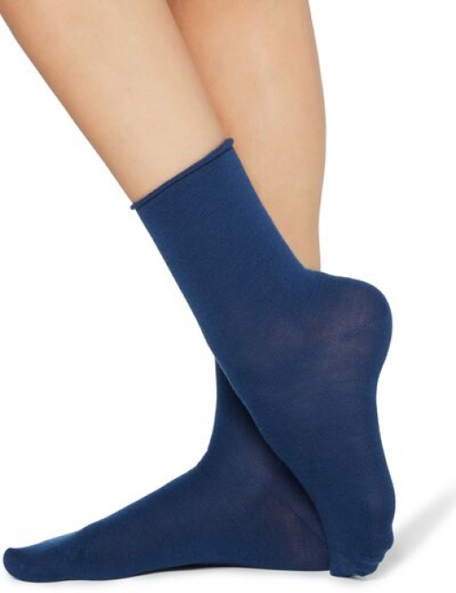Calzedonia Wool And Cotton Short Woman Blue Size TU Sock