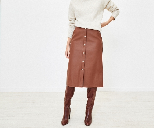 Oasis Faux Leather Button Skirt