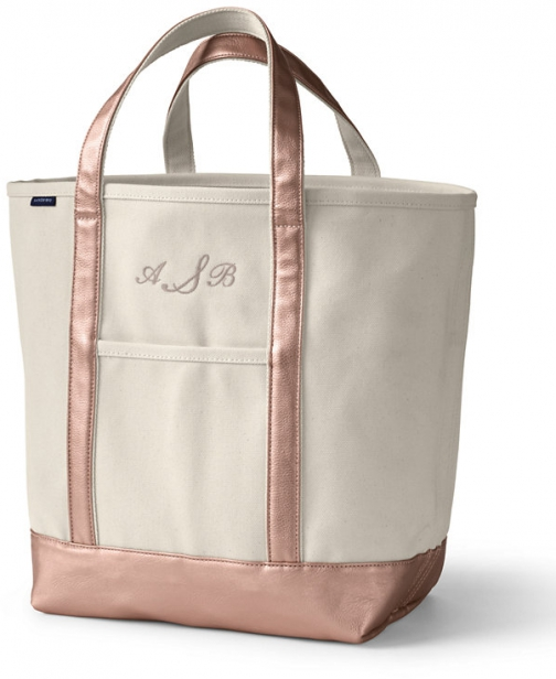 Lands' End Large Natural Rose Gold Open Top Canvas Bag - Lands' End - Ivory Tote