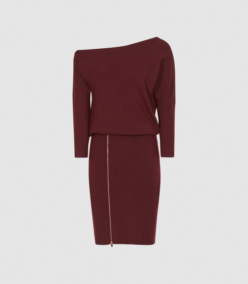 Reiss Cecilia - Off-the-shoulder Zip Detail Berry, Womens, Size XS Dress