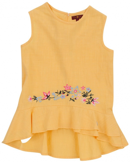 7 For All Mankind Women's Girl's S-XL Ruffle Tank Buff Yellow Tank Top
