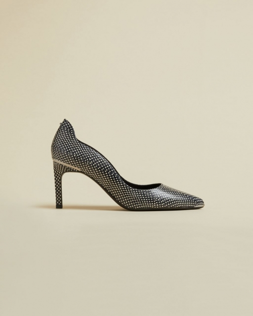 Ted Baker Leather Snake Effect Low Heel Stiletto Court