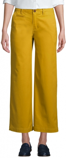 Lands' End Women's Mid Rise Wide Leg Ankle Pants - Lands' End - Yellow - 2 Chino