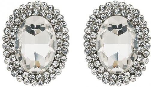 Mikey Large Centre Oval Crystal Earring