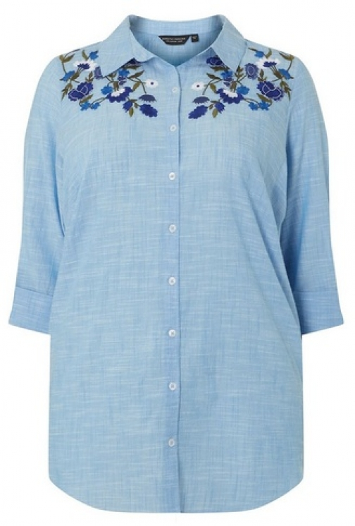 Dorothy Perkins Womens **DP Curve Chambray Embroidered Linen - Blue, Blue Shirt