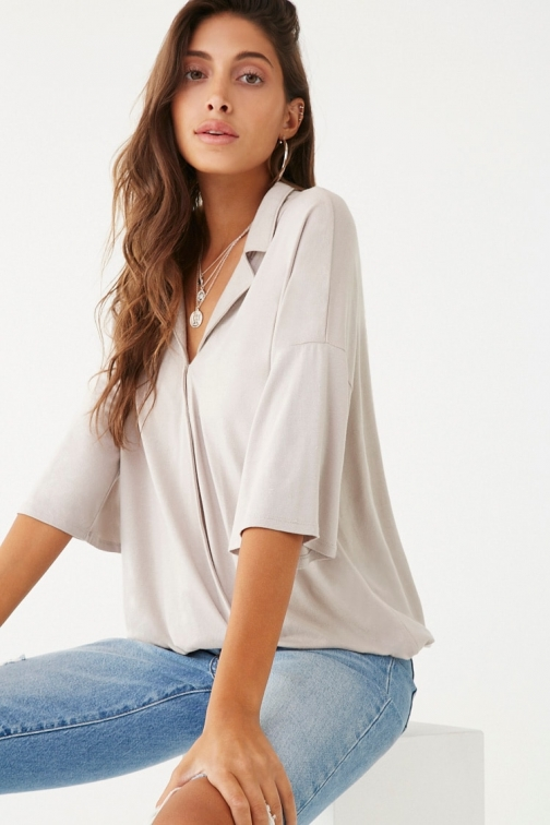Forever21 Forever 21 Surplice Notched- Top , Grey Collar