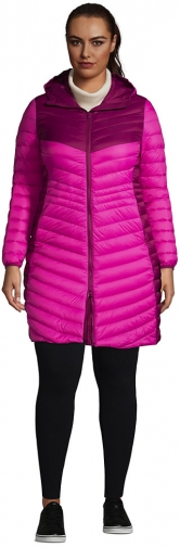 Lands' End Women's Plus Size Ultralight Packable Down Coat With Hood - Lands' End - Red - 1X Jacket