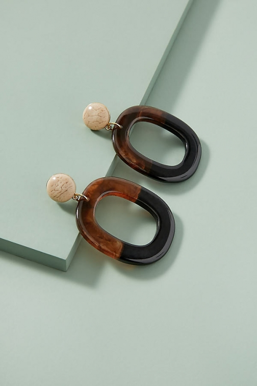 Anthropologie Two-Tone Tortoiseshell-Effect Drop Earring
