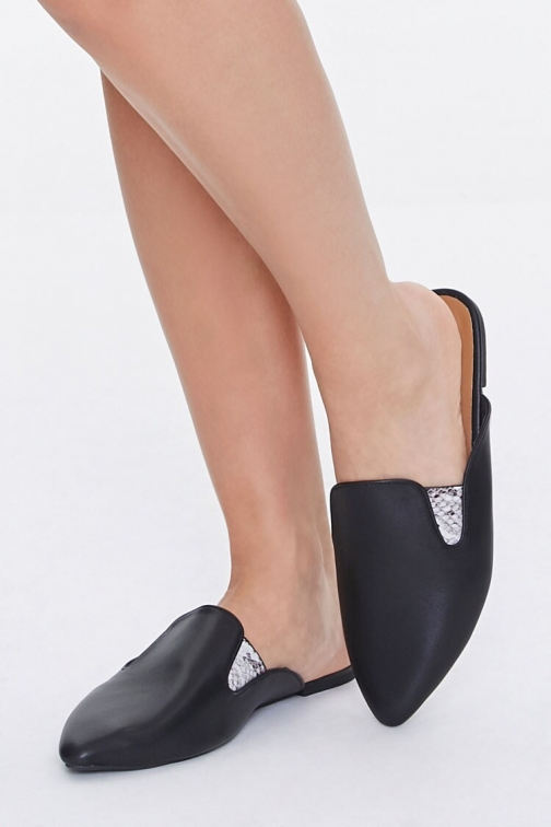 Forever21 Forever 21 Faux Leather Metallic-Accent Mules , Black Shoes