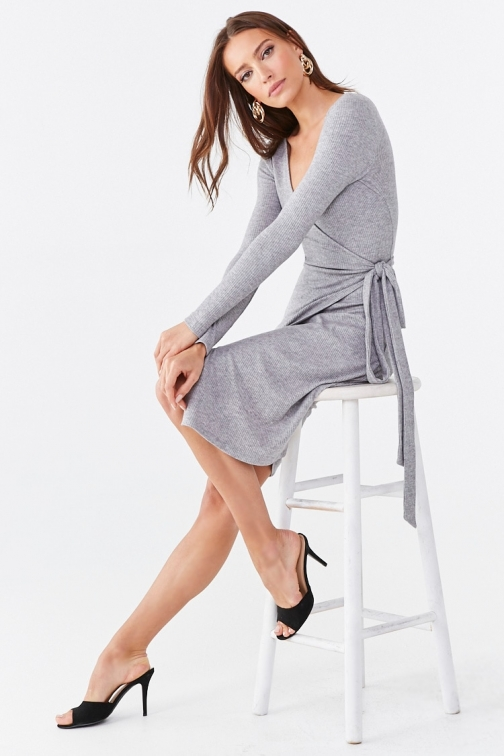 Forever21 Forever 21 Ribbed Wrap , Heather Grey Dress