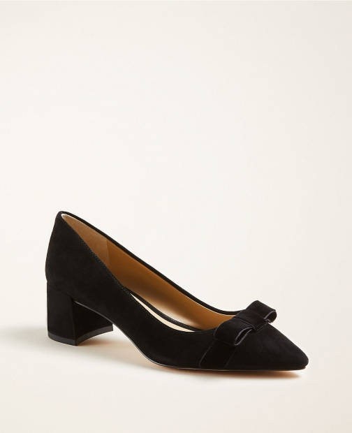 Ann Taylor Polly Bow Suede Block Heel Pumps