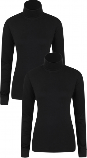 Mountain Warehouse Meribel Womens Cotton Roll Neck - 2-Pack - Black Top