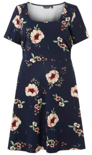 Dorothy Perkins Womens **DP Curve Navy Floral Ruched Sleeve Fit And Flare - Blue, Blue Dress