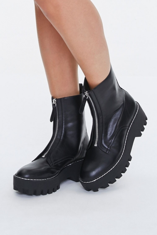 Forever21 Zip-Up Platform Booties At Forever 21 , Black Boot