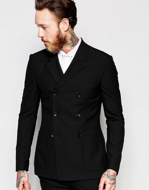 Asos Super Skinny Double Breasted Black Suit Jacket